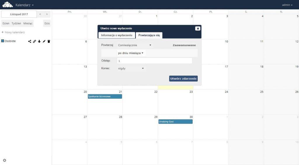 Ustawienie kalendarza